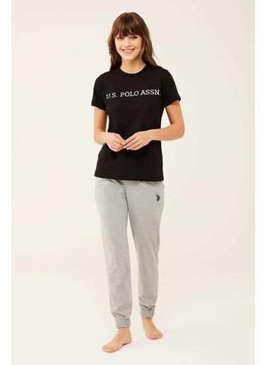 U.S. Polo Assn. Kadın Lacivert Yuvarlak Yaka T-Shirt Siyah